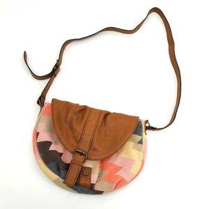American Eagle Boho Fabric Faux Leather Mini Bag
